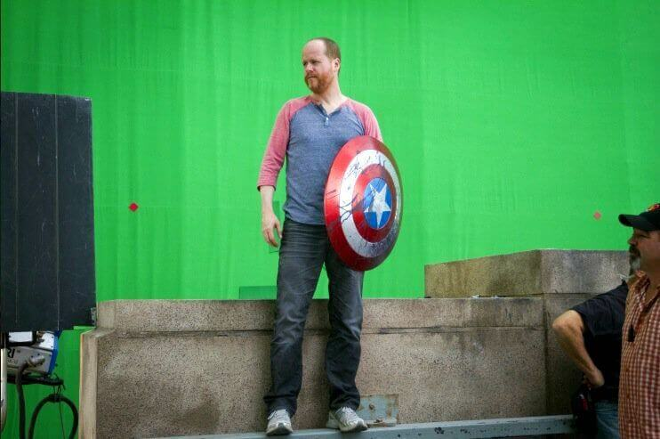 AVENGERS Behind the Scenes Joss Whedon with Captain America Shield